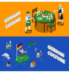German Culture For Tourists Isometric Banners vector image