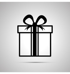Gift simple black icon with shadow vector image