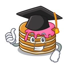 Graduation pancake with strawberry character vector