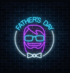 greeting card to fathers day in neon style on vector image