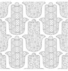 Hamsa hand black and white seamless pattern vector