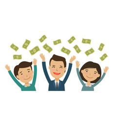 Happy people catch money finance banking vector