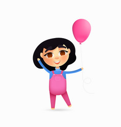 happy young girl character with pink balloon vector image