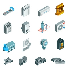 Heating Cooling System Isometric Icons Set vector image