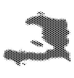 hexagon halftone haiti map vector image