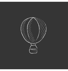 Hot air balloon Drawn in chalk icon vector