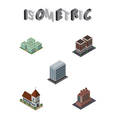 Isometric building set of office industry clinic vector