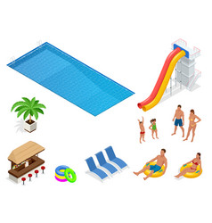 Isometric set icons of summer water park holiday vector