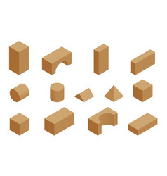 isometric set wooden constructor small vector image