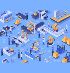 isometric smart industrial factory automated vector image