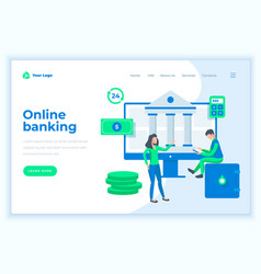 landing page template online banking concept vector image
