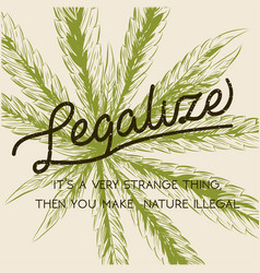 Legalize marijuana weed cannabis green leaf retro vector
