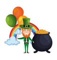 leprechaun with cauldron and rainbow vector image