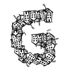Letter G made from houses alphabet design vector