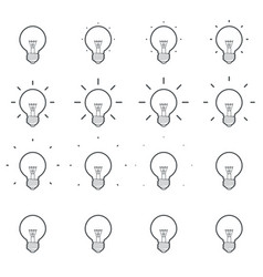 Light bulb shining outline animation sprite sheet vector
