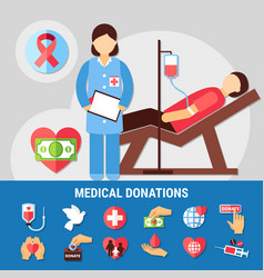 medical donations icon set vector image
