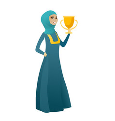 Muslim business woman holding a trophy vector