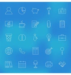 Office Business Line Icons Set over Blurred vector image