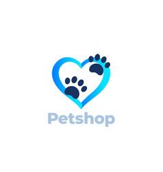 Paw and heart pet shop logo design vector