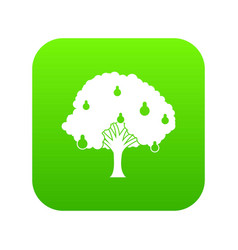 Pear tree with pears icon digital green vector
