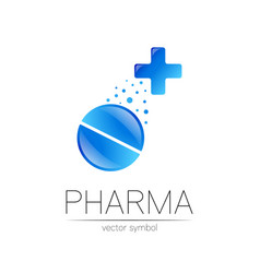 Pharmacy symbol with blue cross vector
