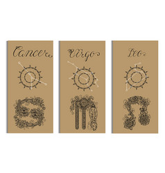 Poster with cancer virgo leo vector