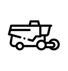Reaping harvester vehicle thin line icon vector