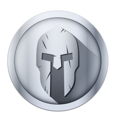 Round icon of Spartan helmet with scratches from vector image