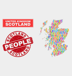 Scotland map population people and corroded stamp vector