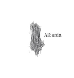 Scribble sketch albania map and country name vector