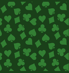 seamless pattern background of green poker suits vector image