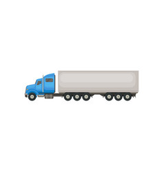 semi truck with blue cab and long gray trailer vector image