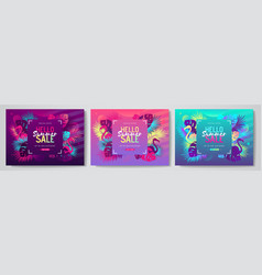 set colorful summer big sale tropical gradient vector image