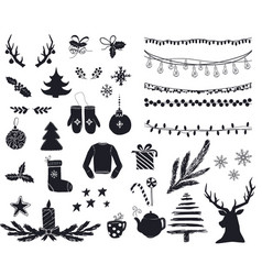 set cute and simple christmas elements vector image
