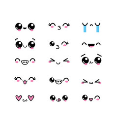Set kawaii faces character with expression design vector
