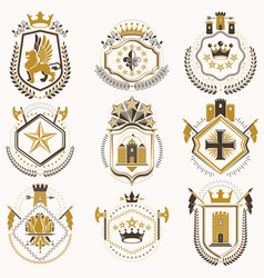 Set luxury heraldic templates collection of vector