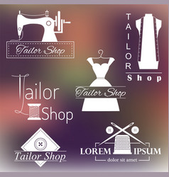 Set tailoring labels badges and emblems on vector
