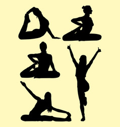 Silhouette of lovely woman doing pilates vector