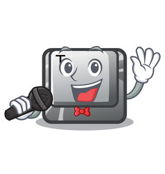 Singing button t in keyboard cartoon vector