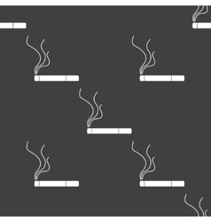 Smoking sign cigarette flat design Seamless gray vector image vector image