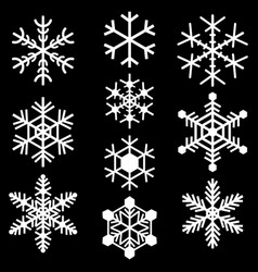 snowflakes symbols icons signs simple white set vector image