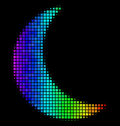 Spectral colored dotted moon icon vector
