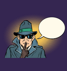 spy shhh gesture man silence secret vector image