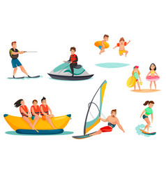 Summer water activities set vector
