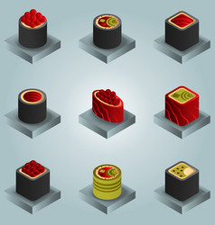 sushi color gradient isomeric icons vector image