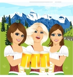 Three oktoberfest girls holding beer tankards vector image