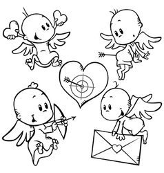 Valentine angels vector
