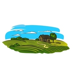 village and landscape vector image