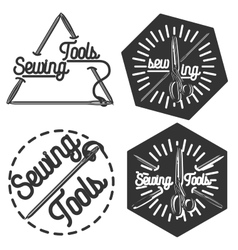 Vintage sewing emblems vector