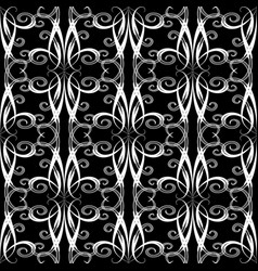 Vintage swirls seamless pattern floral black and vector